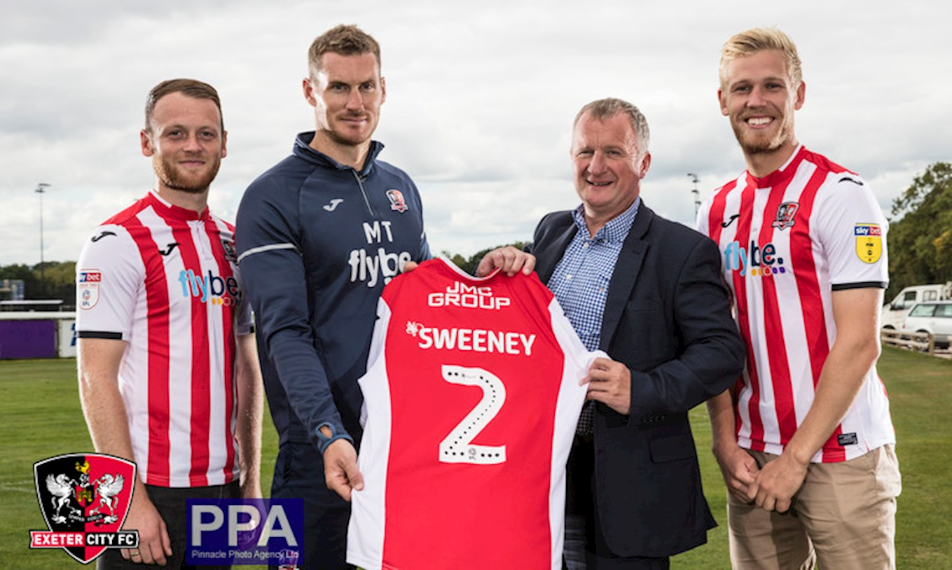 Jake Taylor, Matt Taylor and Jayden Stockley of Exeter City, with Warren Crook of JMC